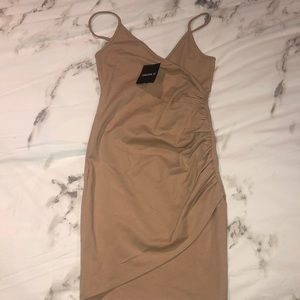 Nude/beige mini bodycon dress
